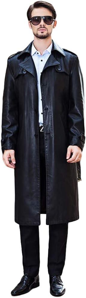 Chaquetas De Moto Larga De Cuero De La PU De Los Hombres De La Vendimia Gabardina De Solapa A Prueba De Viento Cálido Abrigo De Cazadora Abrigo Prendas De Vestir Exteriores,Black-XL:180/96(Bust120cm)