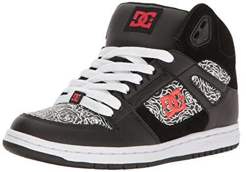 DC Women's Rebound High TX SE Skate W Skateboarding Shoe, Black/Red/White, 6 B US