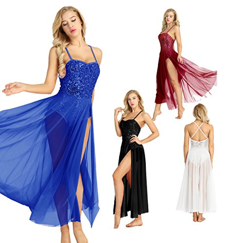 YiZYiF Lyrical Women Adult Sequins Dance Dress Ballet Leotard Flowy Split Skirt