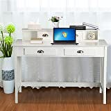 Yaheetech Writing Desk Home Office Computer Desk Wood Organizer with 4 Drawers White