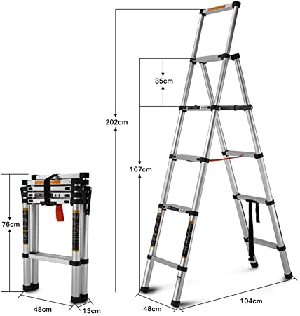 D Escaleras Extensibles Escalera Interior Escalera Plegable Multifuncional Aleación De Aluminio Escalera Telescópica Levantando Escaleras (Color : A): Amazon.es: Hogar