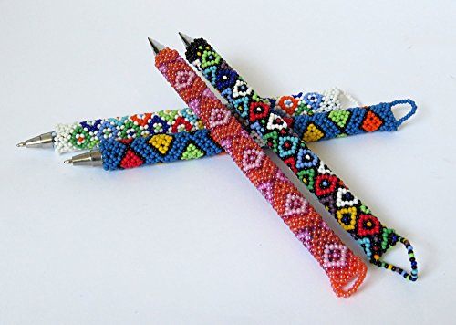 SPECIAL OFFER!! African Zulu beaded Pen, gift from Africa – Set of 5 pens ()