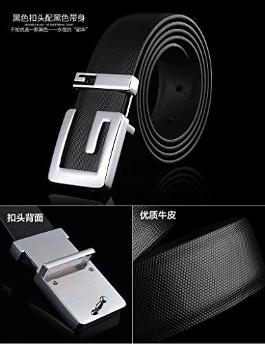 Moraner Mens Fashion Black Waist Belt Gold G Buckle Belt