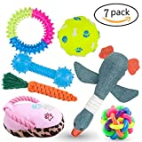 #3: Dog Toys, 7 Pack Gift Sets for Dogs Including 3 Molar Toy 2 Squeak Plush Dog Toys and 2 Dog Balls