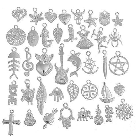 RUBYCA 40Pcs Wholesale Lot Tibetan Mix Pendant Charm White Silver Plated Metal Jewelry Making Mix7 - Silver Plated Keychain