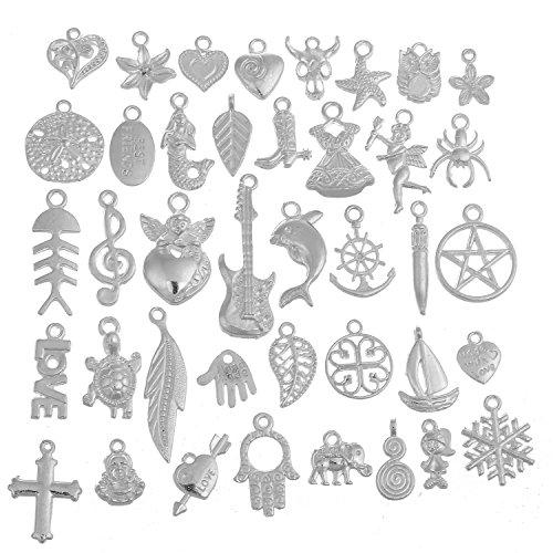 RUBYCA 160Pcs Wholesale Lot Tibetan Mix Pendant Charm White Silver Plated Metal Jewelry Making Mix7 from RUBYCA