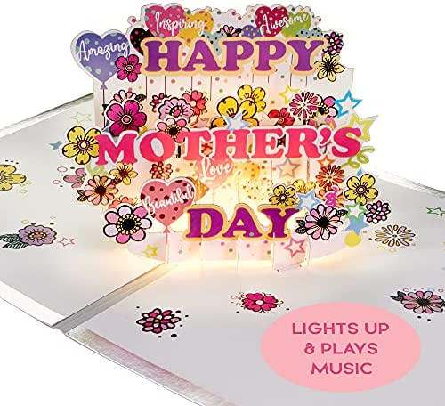 LIGHT & MUSIC Mothers Day Pop Up Card – 3D Cut Out Word Light Up & PopUp Cards – Plays Music from 'MAMMA MIA' – Happy Mothers Day Greeting Card for Mum/Wife from Daughter/Son/Husband – Gifts for Mom