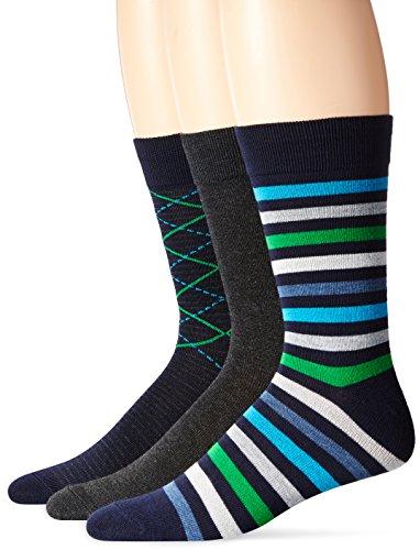 - Hanes Ultimate Men's 3-Pack X-Temp Crew Knit Dress Socks, navy rainforest green new argyle/bold blue,  heather,  rainforest green,  chalk stripe, 10-13