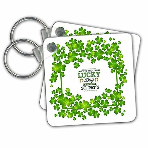Uta Naumann Sayings and Typography - Irish St Patrick Motivational and Clover Frame - Its Your Lucky Day - Key Chains - set of 2 Key Chains (kc_275297_1) -
