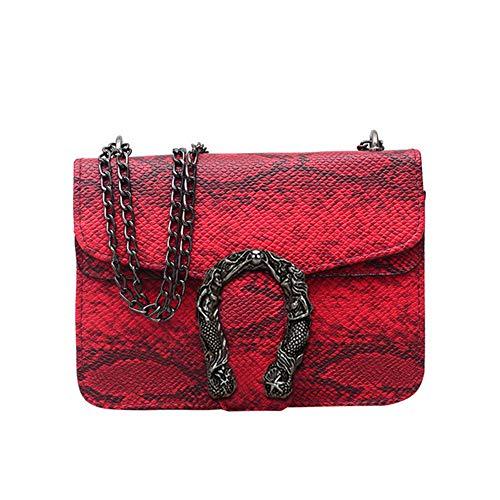 Alligator Leather Messenger Bag Chain Shoulder Crossbody Bag Women Handbag 红色 18318