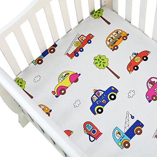 Brandream Boys Toddler Crib Sheet Cotton Fitted Sheet Baby Crib Mattress Sheets Colorful Cars Vehicles printed, White