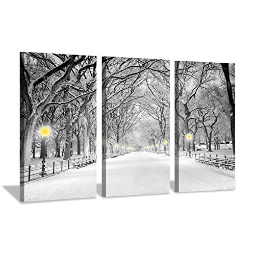 Winter Artwork Snowy Landscape Pictures: NY Central Park Canvas Wall Art for Living Room Fireplace (26'' x 16'' x 3 Panels)