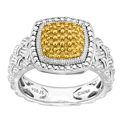 1/4 ct Yellow Diamond Braided Cushion Ring in Sterling Silver Size (Womens Braided Cushion)