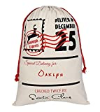 Aoloshow Oaklyn Santa Sack Personalized Burlap Bag for Storking