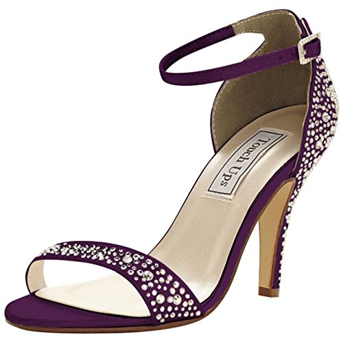 Sandale Ornée De Cristaux Teints Par Des Retouches Style Rena Prune