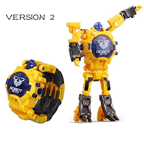 Toy Robot Watch,Children's Toy 2-in-1 Deformation Watch Toy Watch Robot, Educational Toy Game Watch, School Toy Gift. (Yellow) - Yellow Robot