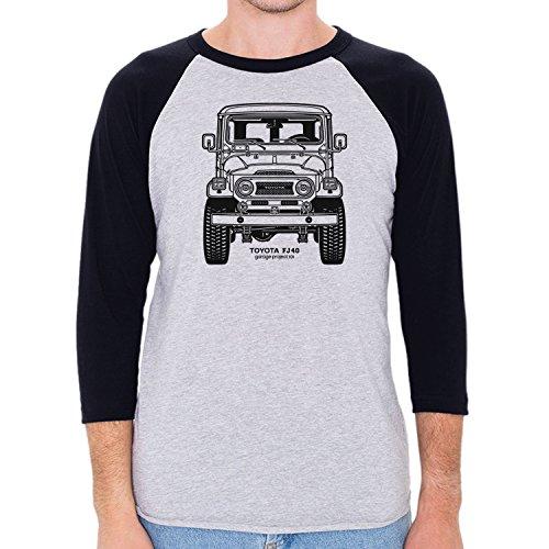 GarageProject101 Men's Toyota FJ40 Land Cruiser Front 3/4 Sleeve Baseball Shirt M Heather Gray/Navy (Toyota Land Cruiser Prado For Sale In Usa)