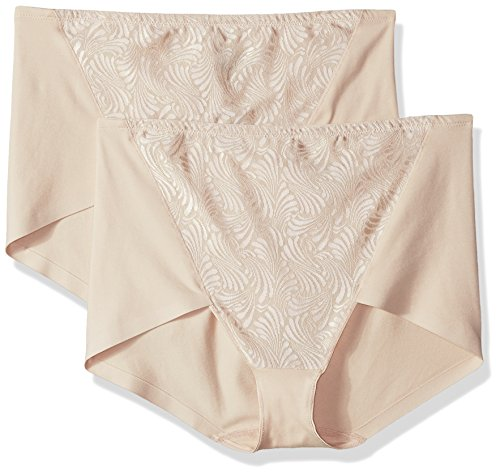 (Bali Women's Designs Ultra Control 2-Pack Cottony Brief, Soft Taupe, Large)