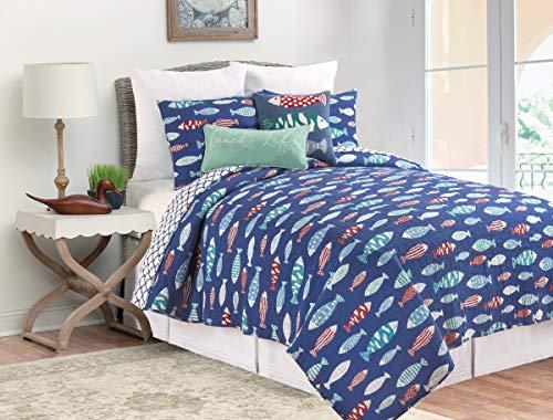 (C&F Home Harpswell Fish Ocean Full/Queen Reversible Cotton Quilt Set Full/Queen 3 Piece Set)