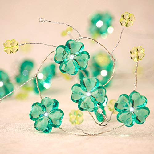 Impress Life Shamrocks Lucky Clover Handmade String Lights, Feast of St. Patrick Green Decoration Copper Wire 10ft 30LEDs with Remote Battery and Plug in Operated for Irish Bar Holiday Wedding Party ()