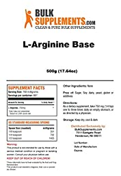 BulkSupplements Pure L-Arginine Base Powder (500 grams)