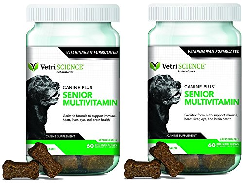 VetriScience Laboratories Canine Plus Senior, Multivitamin for Older dogs bundled with Reusable Travel Pill Pouch - Canine Plus Senior Vitamin