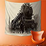 UHOO2018 Square Tapestry or Northern Type Steam Train Engine Built by The Montreal Locomotive Works Throw, Bed, Tapestry, or Yoga Blanket 55W x 55L Inch