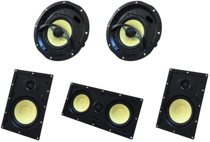 Silver Ticket Products YK Series 1 x Center, 1 x Left & 1 x Right in-Walls and 2 x in-Ceiling Surround Sound 5.1 Speaker Home Theater Bundle