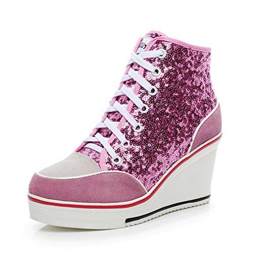 Talon Rose Femme Loisir Plate Basket Wedge Montante forme Haute Chaussure Compensée 35 À Sneakers 43 Mode De Lacets BqwOBT