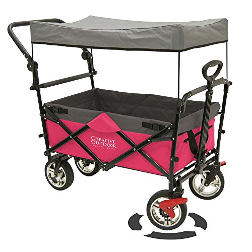 Push Canopy (Folding Wagon for Kids, Beach, Foldable Canopy with Sun/Rain Shade (Hot Pink))