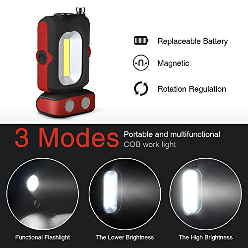 Portable LED Work Light with Picker, WOOPHEN Multi-use COB Flashlight, Magnetic Base, Battery-Operated 5000K Daylight,for Car Repairing,Wild Camping, Blackout and Emergency by WOOPHEN (Image #1)