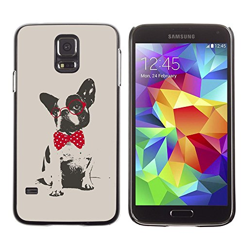 All Phone Most Case / Hard PC Metal piece Shell Slim Cover Protective Case for Samsung Galaxy S5 SM-G900 Boston terrier pug polka dot red grey