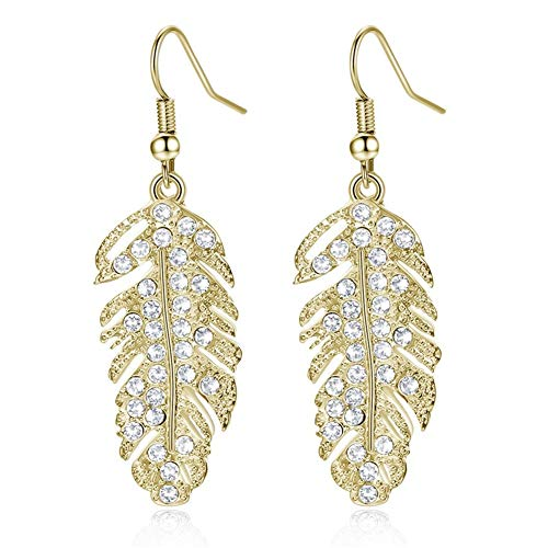 AILUOR Crystal Floating Feather Dangle Earrings, Bohemia Gold or Silver Plated Rhinestone Long Hanging Metal Link Leaf Drops - Love Wing Eardrop Hook Wedding Jewelry for Women Girl (Gold)