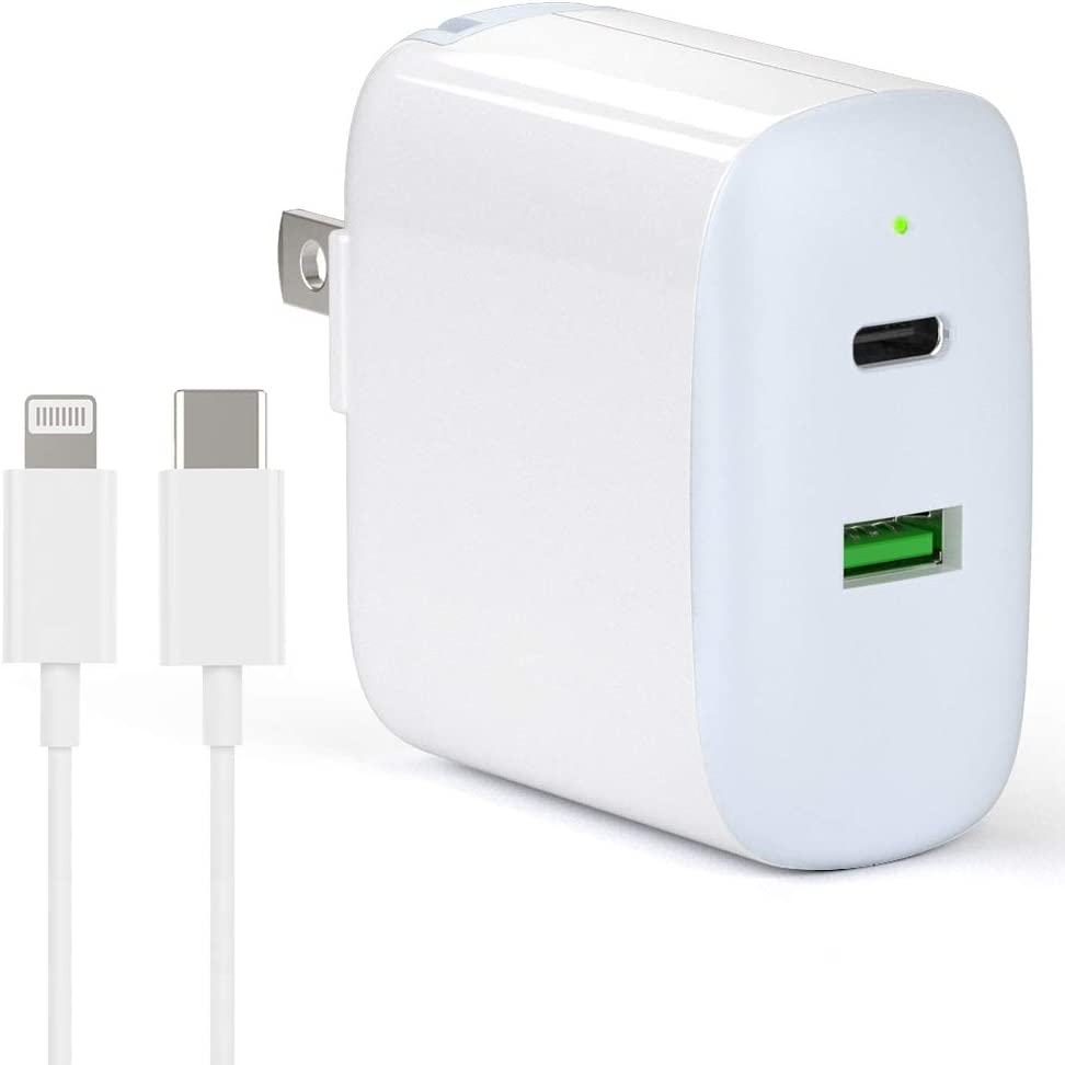 iPhone Fast Charger MFi Certified - 30W 2 Port USB-C Charger with 18W Power Delivery 3.0 for iPhone 11 Pro Max XS Max XR X 8 Plus SE 2020 iPad Pro, PD Wall Charger with Lightning Cable, Foldable Plug