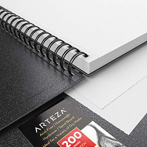 Arteza Sketch Book, 9x12-inch, 2-Pack, Black Drawing Pads, 200 Sheets Total, 68 lb 100 GSM, Hardcover Sketchbook, Spiral-Bound, Use with Pencils, Charcoal, Pens, Crayons & Other Dry Media