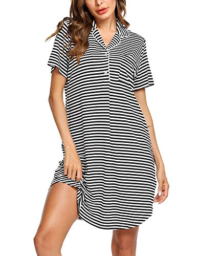 Gown Striped - Ekouaer Womens Nightshirt Short Sleeves Nightgown Comfy Striped Boyfriend Style Top Sleepwear S-XXL Black and White