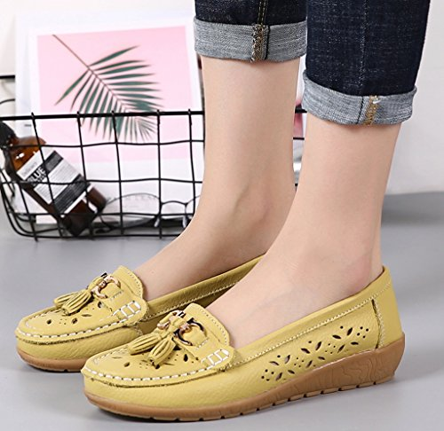 Driving Shoes Leather Loafers Olive ONS Slip Casual Womens 1 Labato Flats C8YFx