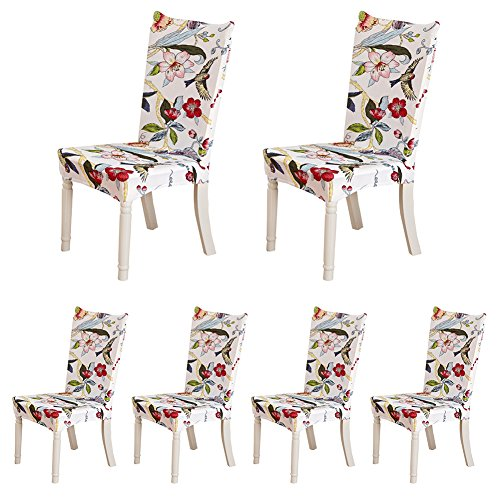 - HOTNIU Spandex Fabric Patterned Chair Slipcovers - Removable Universal Stretch Elastic Chair Protector Covers - Solid Color Super Fit Kitchen Chair Cover (6 Pack, Pattern 3)