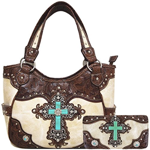 Western Rhinestone Cross Tooled Leather Totes Concealed Carry Purse Handbag Women Shoulder Bag Wallet Set (Beige #2)