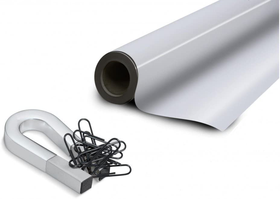 Lámina de hierro blanco brilliant autoadhesiva 0,6mm x 31cm x 50cm - Ideal para la creación de tableros y todo tipo de aplicaciones innovadoras en las que se utilizan imanes