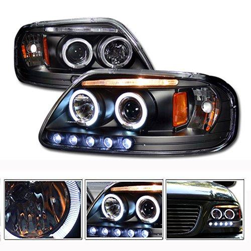 Vxmotor 1997 2003 F150 Expedition Black Blk Drl Led Halo Rims Projector Head Lights Headlights Headlamps Corner Signal Lamp