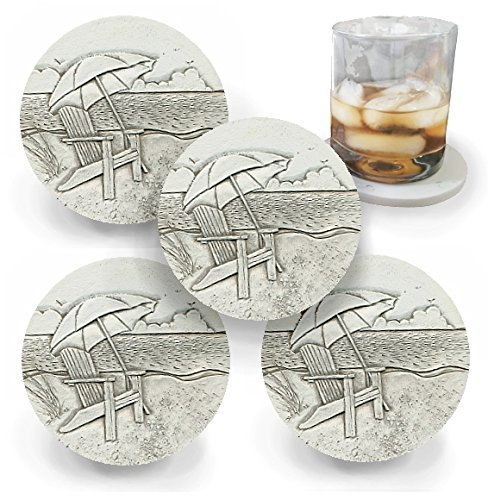 Drink Coasters by McCarter Coasters, Beach Chair, Absorbent, Light Beige 4.25 inch (4pc)