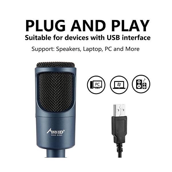 Microfono Usb, MAD GIGA Microfono a Condensatore Con Supporto Pieghevole, Microfono a Condensatore USB Omnidirezionale… 4 spesavip