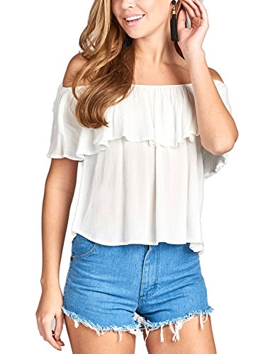 Crinkle Short Sleeve Blouse - BOHENY Women's Plain Short Sleeve Off Shoulder Ruffle Crinkle Gauze Blouse Top-L-White