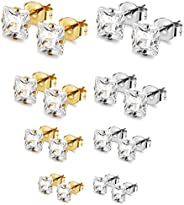 Fiasaso 8 Pairs Stainless Steel Stud Earrings For Mens Womens Clear Cubic Zirconia Inlaid, 3mm-6mm
