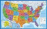 "Laminated World Map & US Map Poster Set - 18"" x"