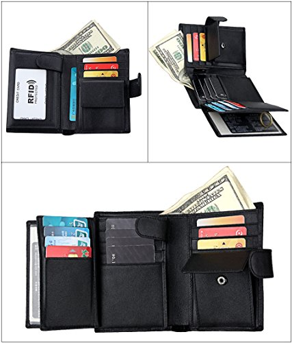 Basic Mens RFID Blocking Wallet Genuine Leather Wallet Short Purse Bifold Card Holder Bifold Wallet for Men at Amazon Mens Clothing store: