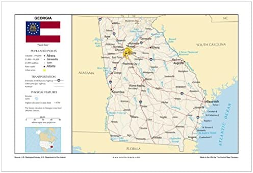 Map Of The Cities In Georgia.13x19 Georgia General Reference Wall Map Anchor Maps Usa
