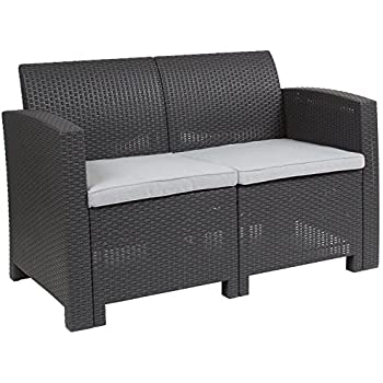 Amazon Com Flash Furniture Dark Gray Faux Rattan Loveseat