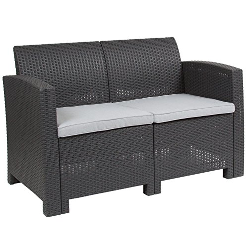 (Flash Furniture Dark Gray Faux Rattan Loveseat with All-Weather Light Gray Cushions )